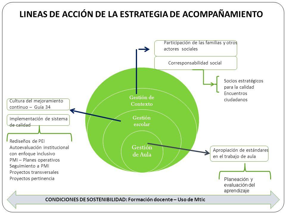 SISTEMA DE TRABAJO DE LA ESTRATEGIA DE ACOMPAÑAMIENTO Acompañamiento a IE Equipo gestión de aula SEM Equipo Gestión institucional Equipo de Gestión EE Proyectos socios estratégicos - Aliados Acompaña los procesos de apropiación de Lineamientos y estándares de competencias en las áreas básicas (Matemáticas – Lenguaje) Acompaña y apoya los procesos de planeación, acompañamiento y evaluación del PMI Lideran los procesos de mejoramiento continuo en la IE Apoyo al Plan de Mejoramiento con acciones especificas