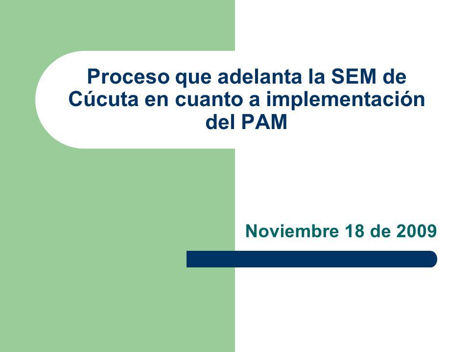 Proceso que adelanta la SEM de Cúcuta en cuanto a implementación del PAM Noviembre 18 de 2009