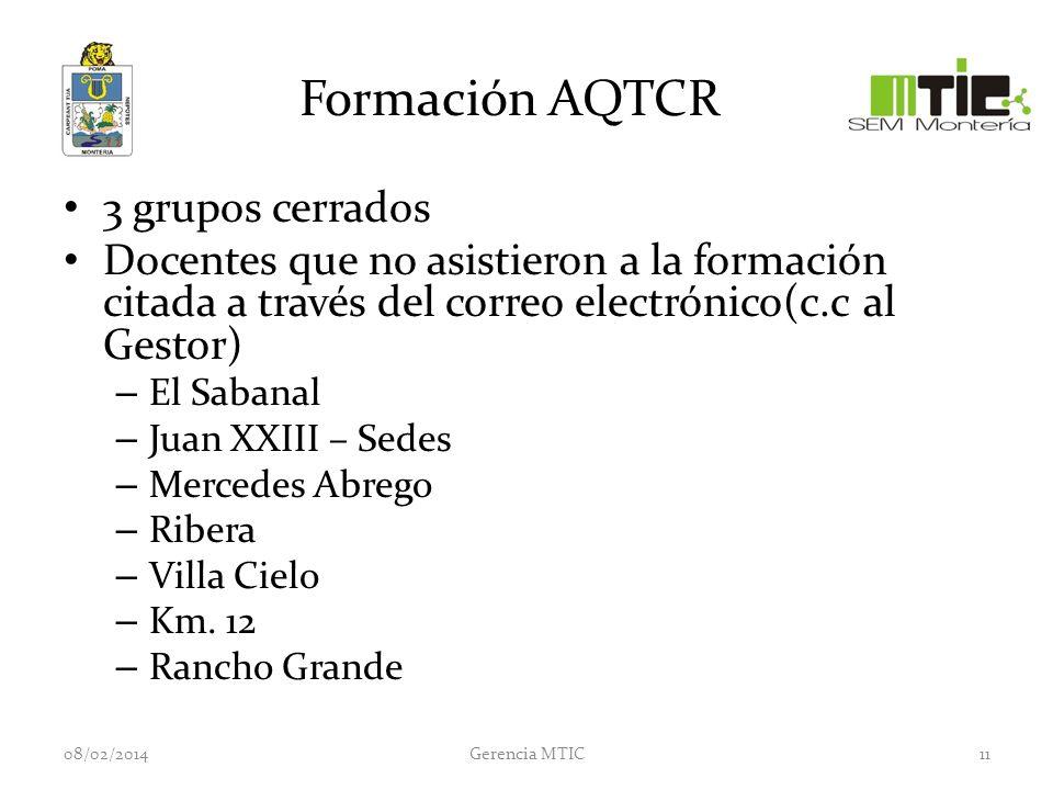 Formación AQTCR 3 grupos cerrados Docentes que no asistieron a la formación citada a través del correo electrónico(c.c al Gestor) – El Sabanal – Juan XXIII – Sedes – Mercedes Abrego – Ribera – Villa Cielo – Km.