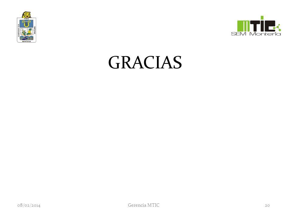 GRACIAS 08/02/2014Gerencia MTIC20