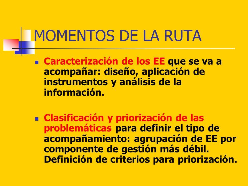 MOMENTOS DE LA RUTA Caracterización de los EE que se va a acompañar: diseño, aplicación de instrumentos y análisis de la información. Clasificación y