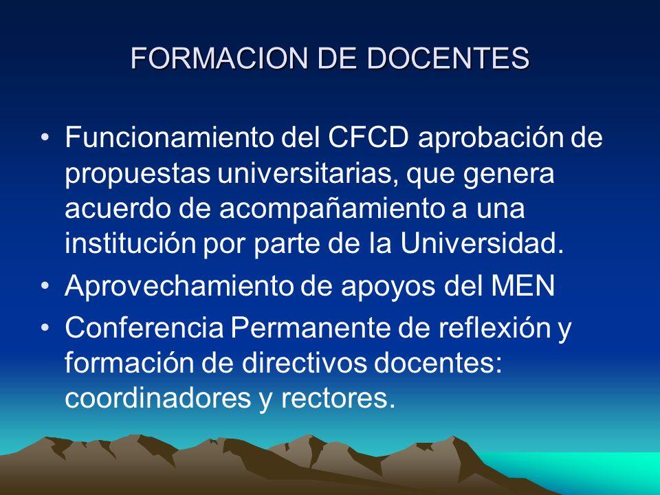 FORMACION DE DOCENTES Funcionamiento del CFCD aprobación de propuestas universitarias, que genera acuerdo de acompañamiento a una institución por parte de la Universidad.