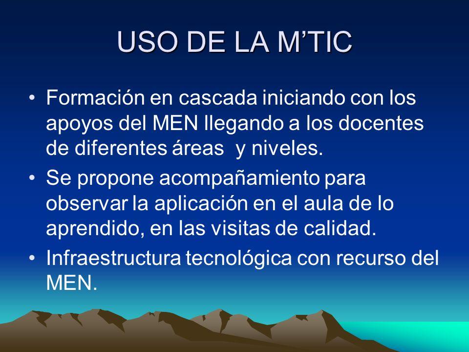 USO DE LA MTIC Formación en cascada iniciando con los apoyos del MEN llegando a los docentes de diferentes áreas y niveles.