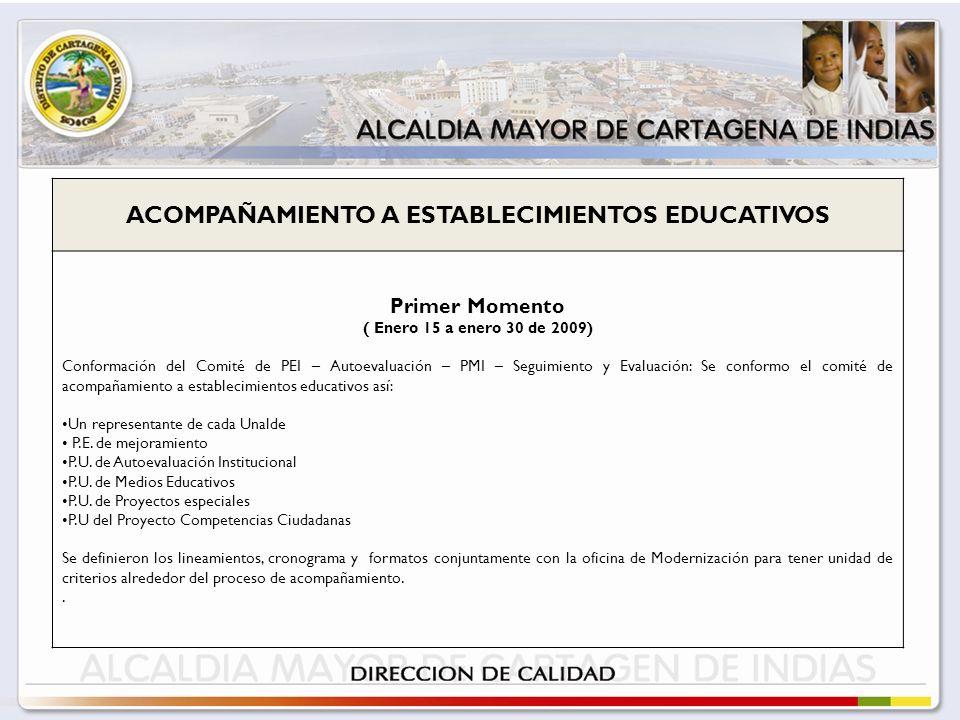 ACOMPAÑAMIENTO A ESTABLECIMIENTOS EDUCATIVOS Primer Momento ( Enero 15 a enero 30 de 2009) Conformación del Comité de PEI – Autoevaluación – PMI – Seguimiento y Evaluación: Se conformo el comité de acompañamiento a establecimientos educativos así: Un representante de cada Unalde P.E.