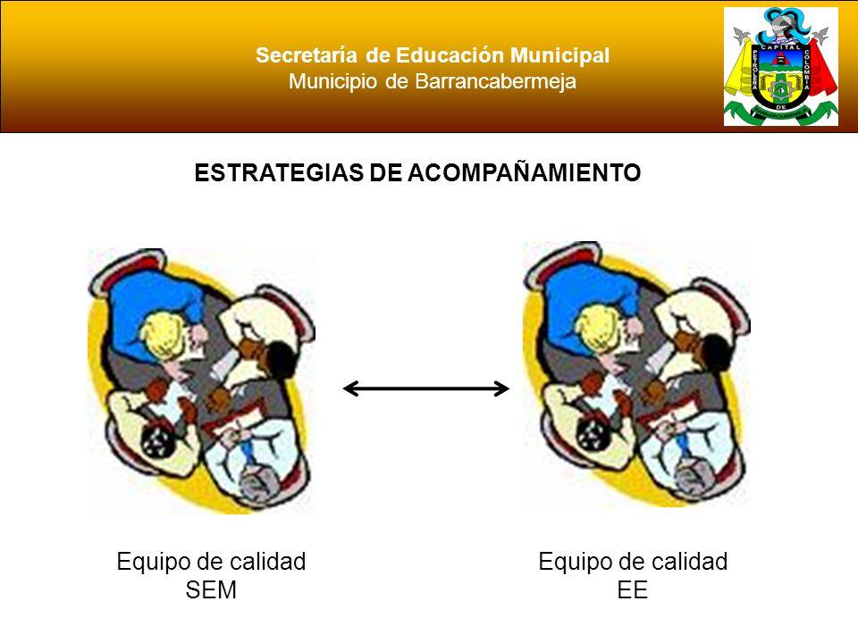 Secretaría de Educación Municipal Municipio de Barrancabermeja ESTRATEGIAS DE ACOMPAÑAMIENTO Acción de Gestores y talleristas del MEN MEN EE SEM