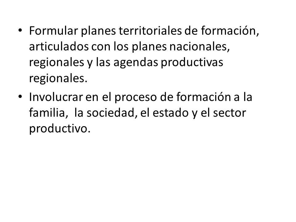 Formular planes territoriales de formación, articulados con los planes nacionales, regionales y las agendas productivas regionales.