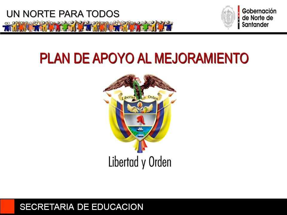 PLAN DE APOYO AL MEJORAMIENTO SECRETARIA DE EDUCACION UN NORTE PARA TODOS