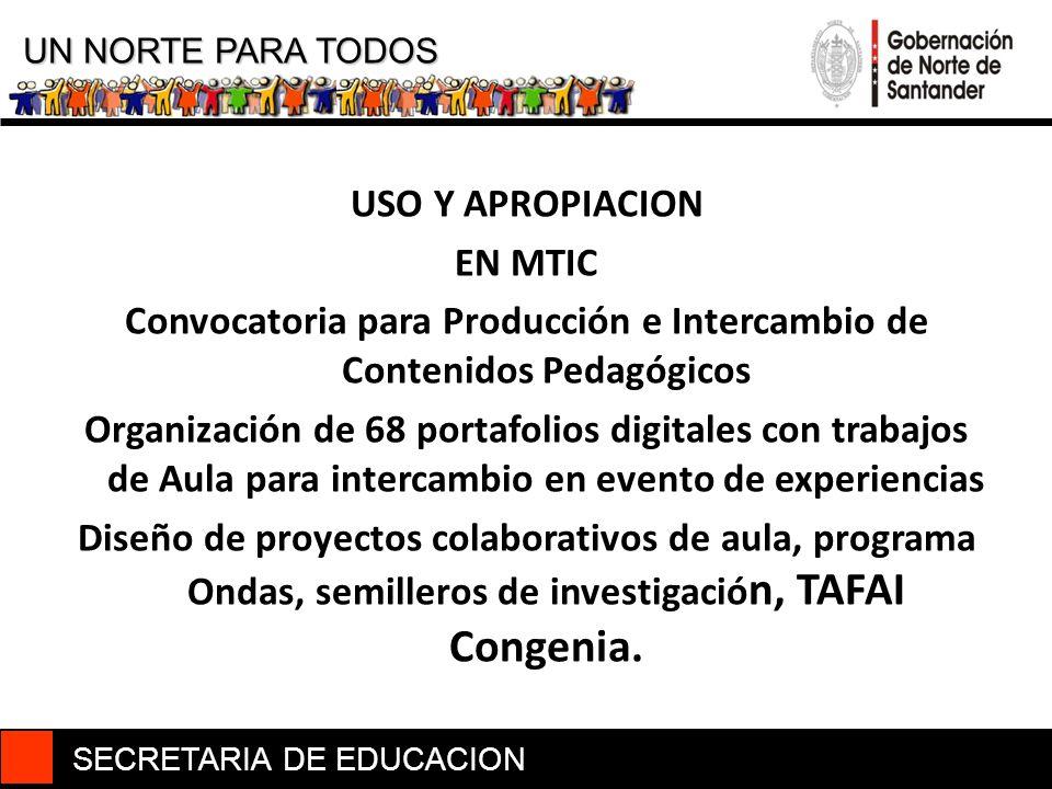 SECRETARIA DE EDUCACION UN NORTE PARA TODOS USO Y APROPIACION EN MTIC Convocatoria para Producción e Intercambio de Contenidos Pedagógicos Organizació