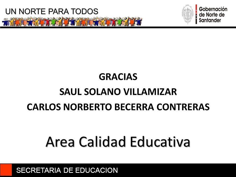 SECRETARIA DE EDUCACION UN NORTE PARA TODOS GRACIAS SAUL SOLANO VILLAMIZAR CARLOS NORBERTO BECERRA CONTRERAS Area Calidad Educativa