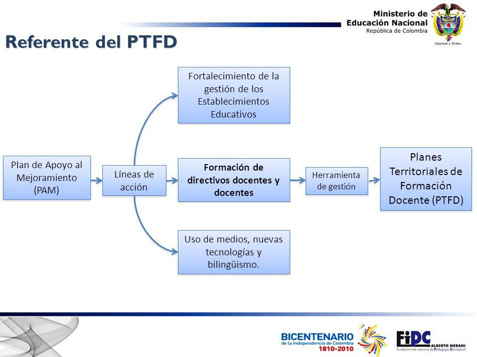 Referente del PTFD Formación de directivos docentes y docentes Plan de Apoyo al Mejoramiento (PAM) Plan de Apoyo al Mejoramiento (PAM) Líneas de acción Fortalecimiento de la gestión de los Establecimientos Educativos Uso de medios, nuevas tecnologías y bilingüismo.