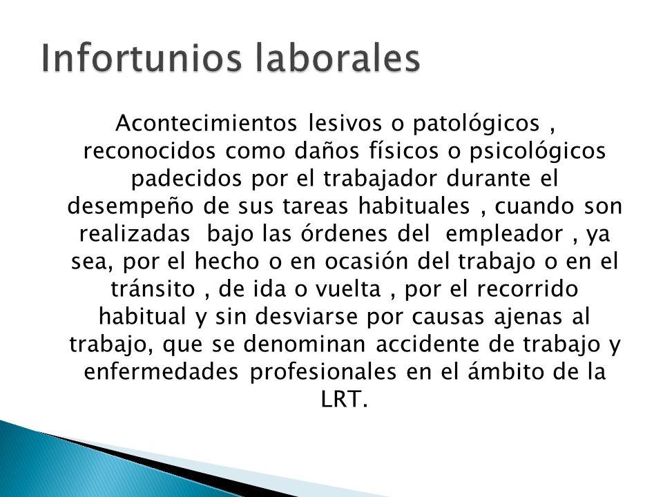 Acontecimientos lesivos o patológicos, reconocidos como daños físicos o psicológicos padecidos por el trabajador durante el desempeño de sus tareas ha