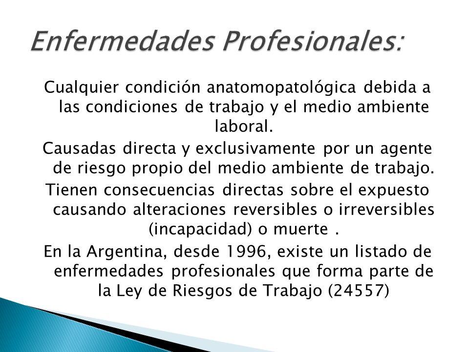 Cualquier condición anatomopatológica debida a las condiciones de trabajo y el medio ambiente laboral. Causadas directa y exclusivamente por un agente