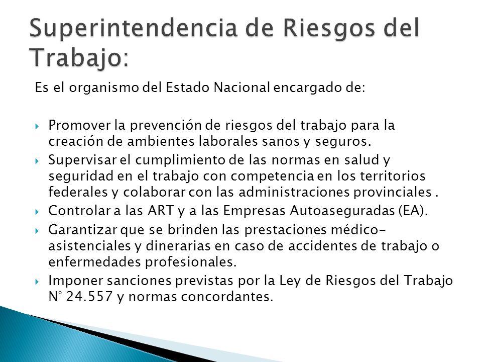 Es el organismo del Estado Nacional encargado de: Promover la prevención de riesgos del trabajo para la creación de ambientes laborales sanos y seguro