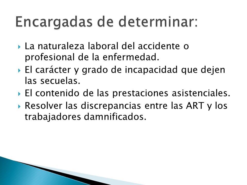 La naturaleza laboral del accidente o profesional de la enfermedad. El carácter y grado de incapacidad que dejen las secuelas. El contenido de las pre
