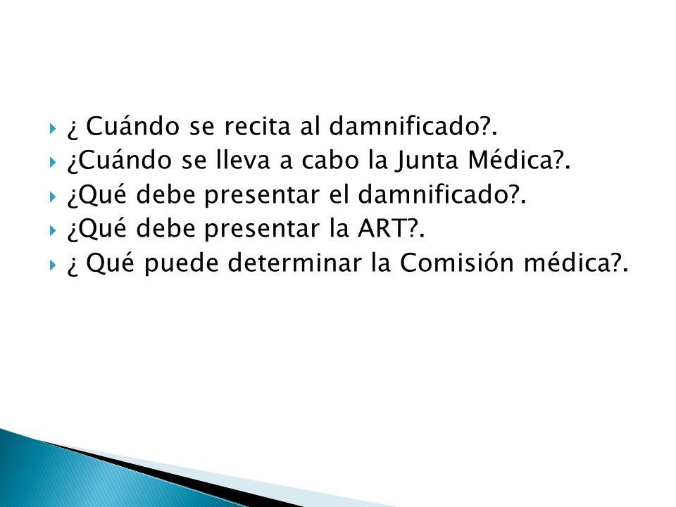 ¿ Cuándo se recita al damnificado?. ¿Cuándo se lleva a cabo la Junta Médica?. ¿Qué debe presentar el damnificado?. ¿Qué debe presentar la ART?. ¿ Qué