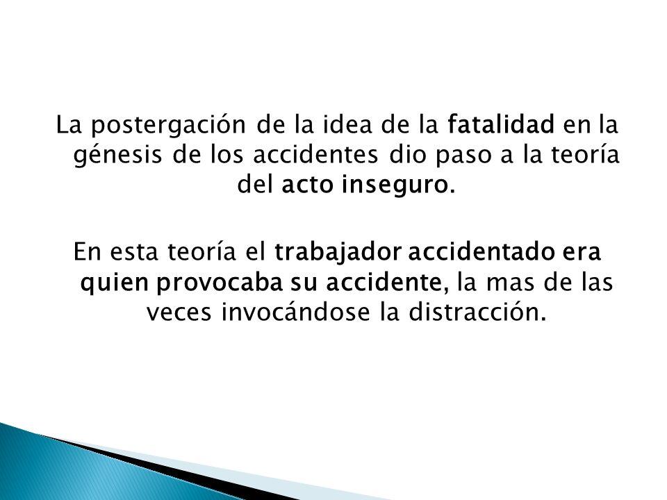 La postergación de la idea de la fatalidad en la génesis de los accidentes dio paso a la teoría del acto inseguro. En esta teoría el trabajador accide