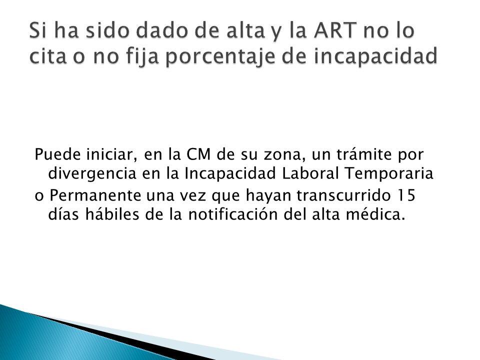 Puede iniciar, en la CM de su zona, un trámite por divergencia en la Incapacidad Laboral Temporaria o Permanente una vez que hayan transcurrido 15 día