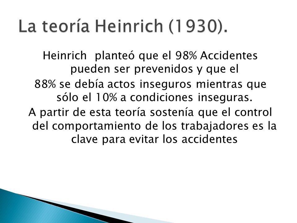 Heinrich planteó que el 98% Accidentes pueden ser prevenidos y que el 88% se debía actos inseguros mientras que sólo el 10% a condiciones inseguras. A