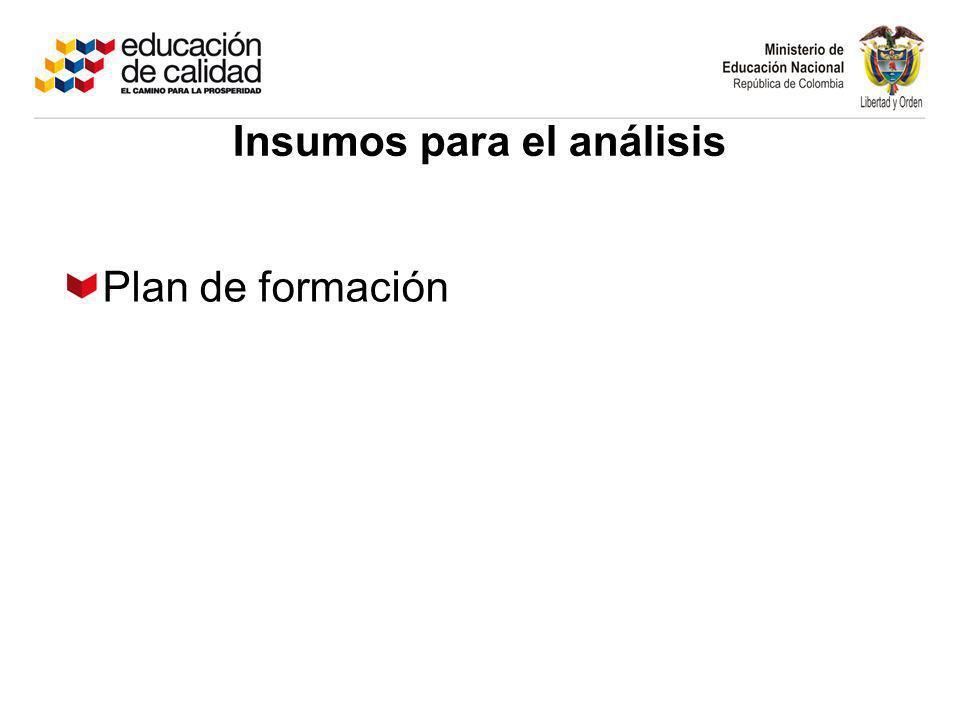 Plan de formación Insumos para el análisis
