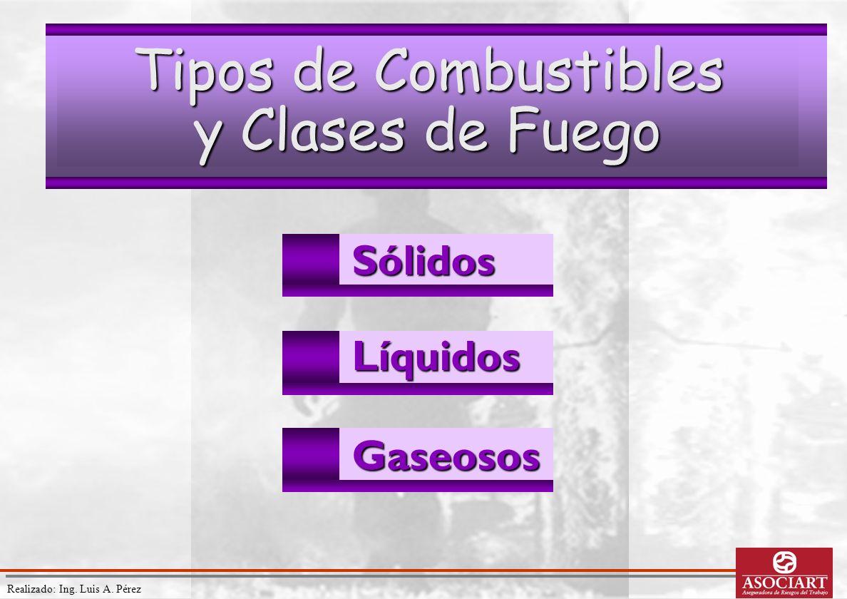 Realizado: Ing. Luis A. PérezSólidosLíquidos Gaseosos Tipos de Combustibles y Clases de Fuego