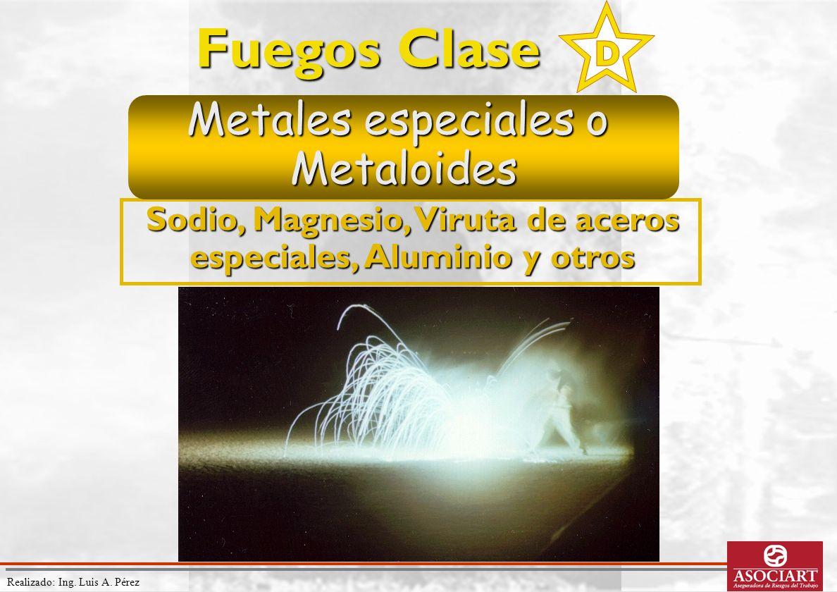 Realizado: Ing. Luis A. Pérez Sodio, Magnesio, Viruta de aceros especiales, Aluminio y otros Fuegos Clase Metales especiales o Metaloides