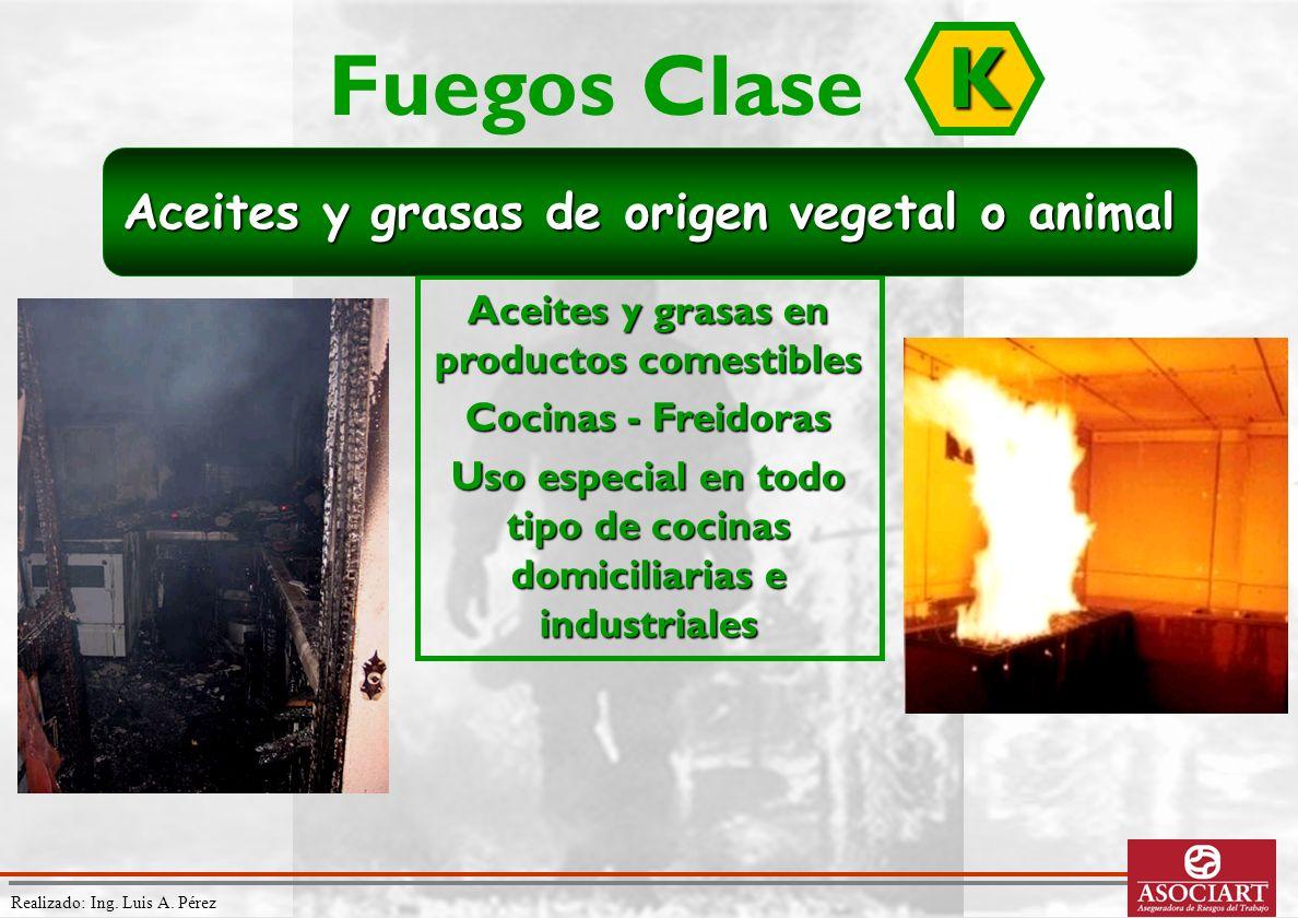 Realizado: Ing. Luis A. Pérez Aceites y grasas en productos comestibles Cocinas - Freidoras Uso especial en todo tipo de cocinas domiciliarias e indus