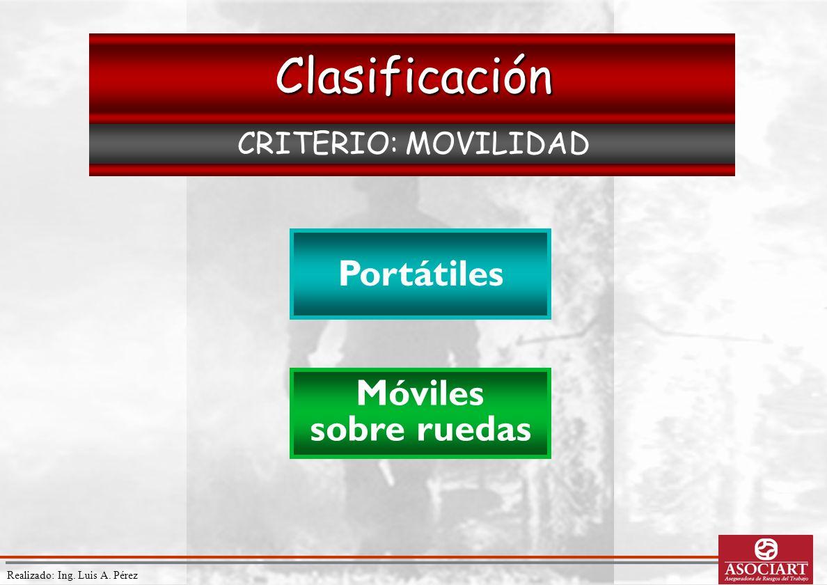 Realizado: Ing. Luis A. Pérez Clasificación CRITERIO: MOVILIDAD Portátiles Móviles sobre ruedas