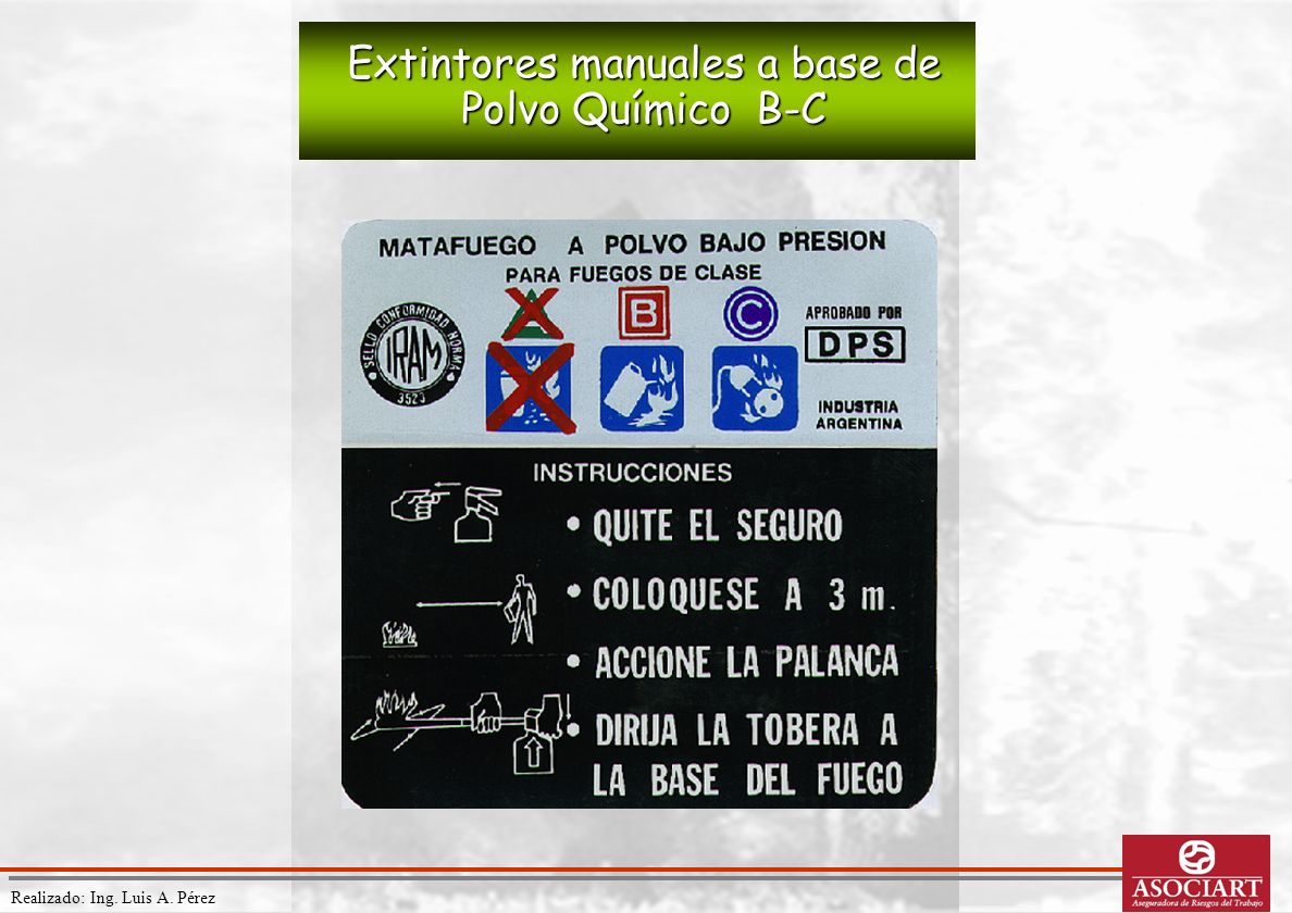 Realizado: Ing. Luis A. Pérez Extintores manuales a base de Polvo Químico B-C