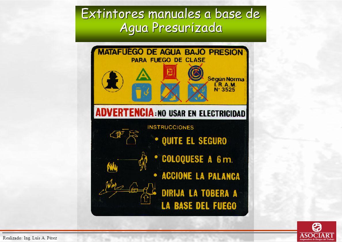 Realizado: Ing. Luis A. Pérez Extintores manuales a base de Agua Presurizada
