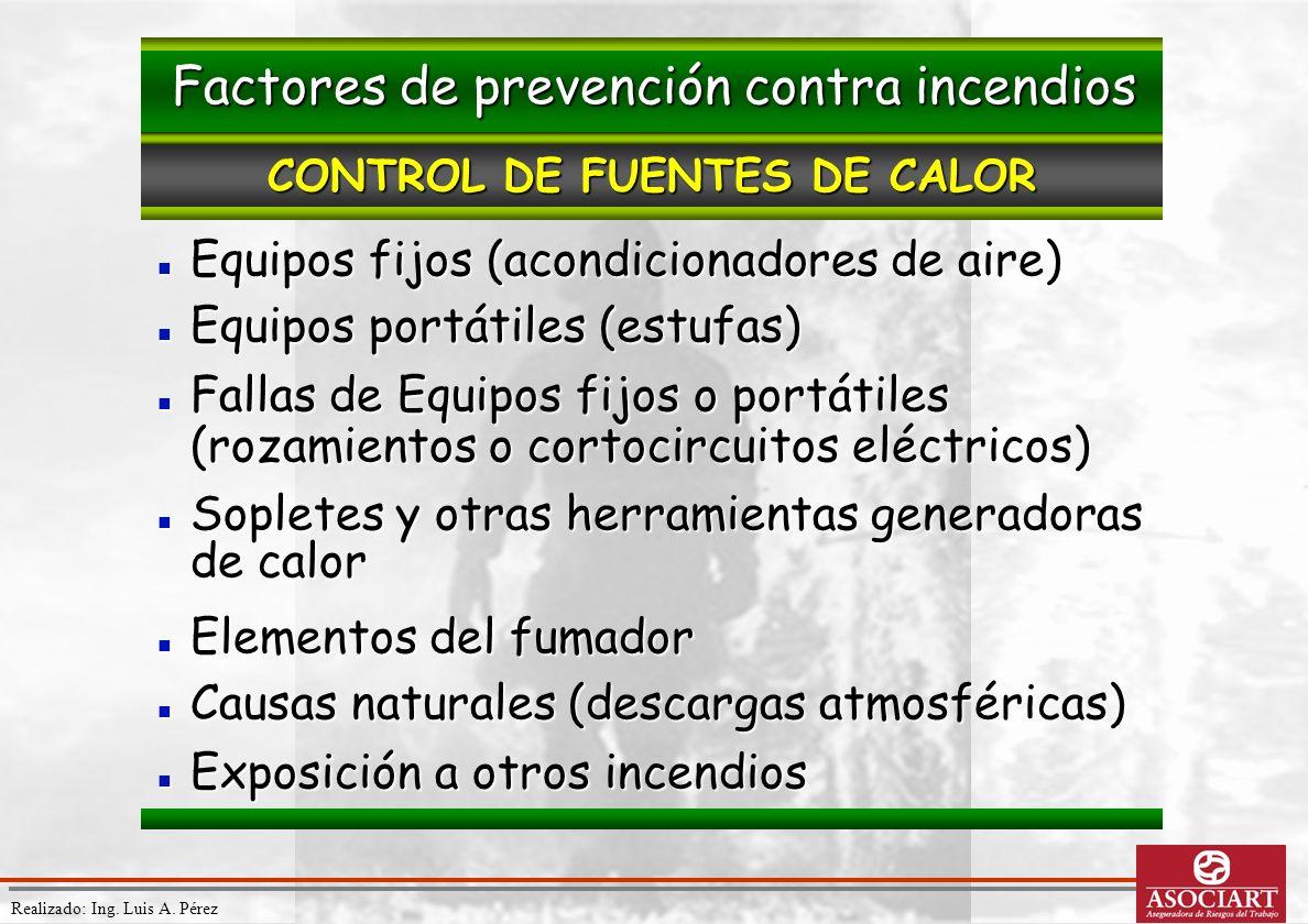 Realizado: Ing. Luis A. Pérez Equipos fijos (acondicionadores de aire) Equipos fijos (acondicionadores de aire) Equipos portátiles (estufas) Equipos p