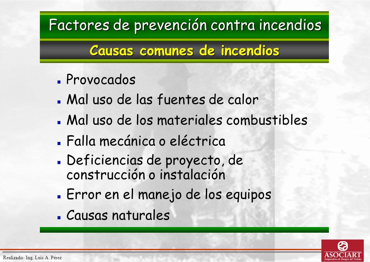 Realizado: Ing. Luis A. Pérez Provocados Mal uso de las fuentes de calor Mal uso de los materiales combustibles Falla mecánica o eléctrica Deficiencia