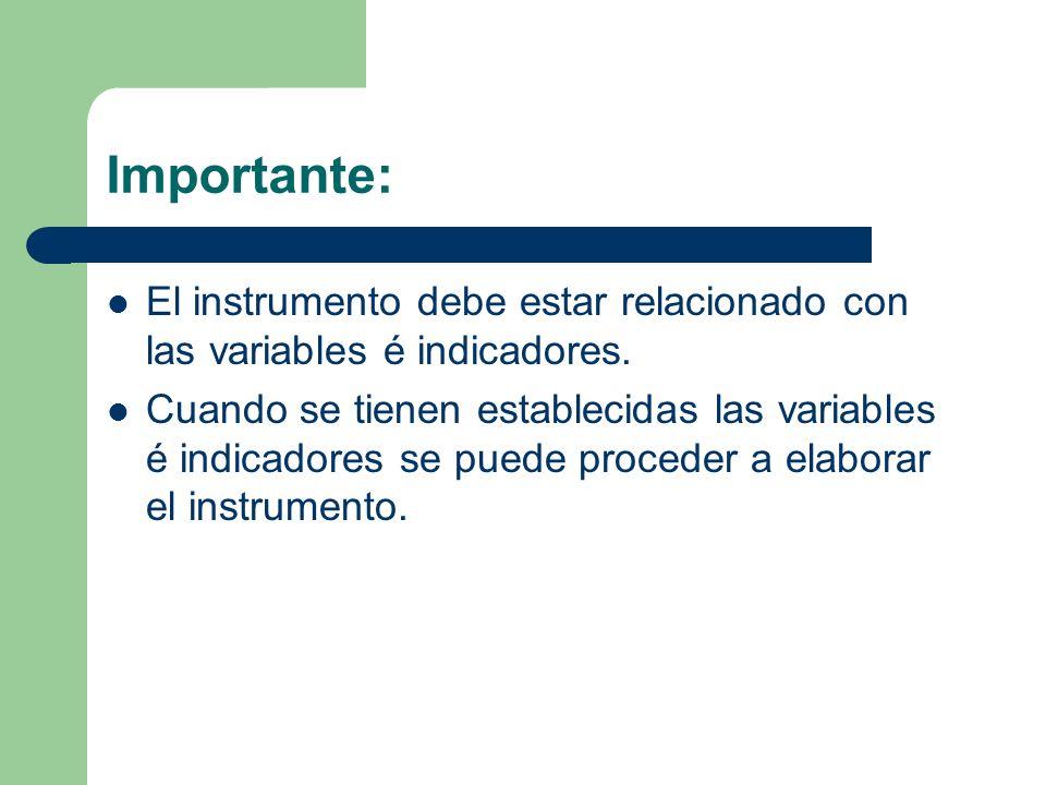 Importante: El instrumento debe estar relacionado con las variables é indicadores. Cuando se tienen establecidas las variables é indicadores se puede