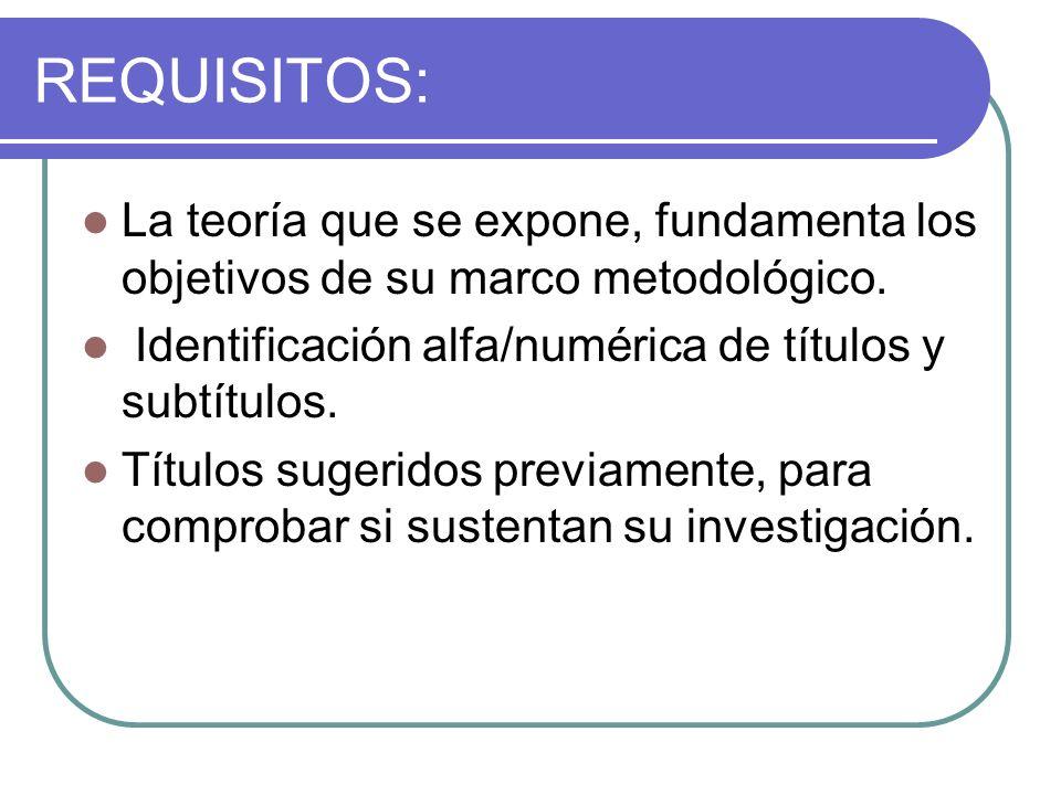 REQUISITOS: La teoría que se expone, fundamenta los objetivos de su marco metodológico. Identificación alfa/numérica de títulos y subtítulos. Títulos