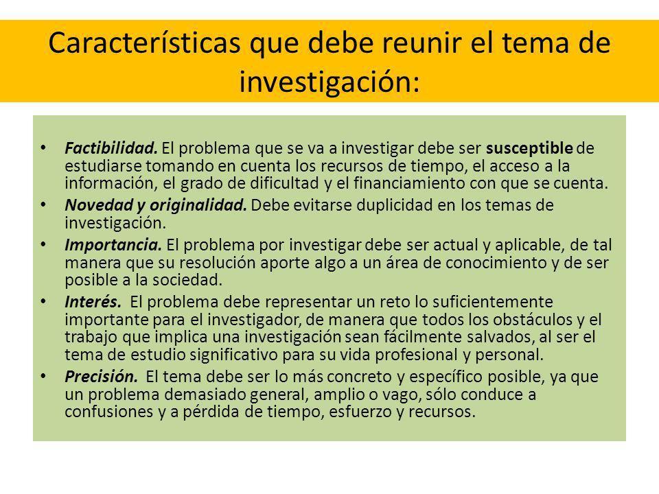 Características que debe reunir el tema de investigación: Factibilidad. El problema que se va a investigar debe ser susceptible de estudiarse tomando