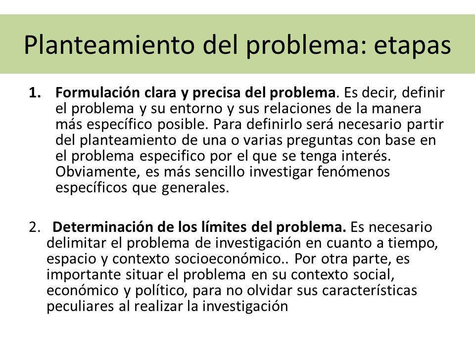 Planteamiento del problema: etapas 1.Formulación clara y precisa del problema. Es decir, definir el problema y su entorno y sus relaciones de la maner