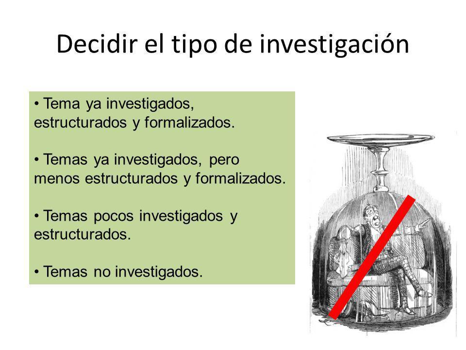 Decidir el tipo de investigación Tema ya investigados, estructurados y formalizados. Temas ya investigados, pero menos estructurados y formalizados. T