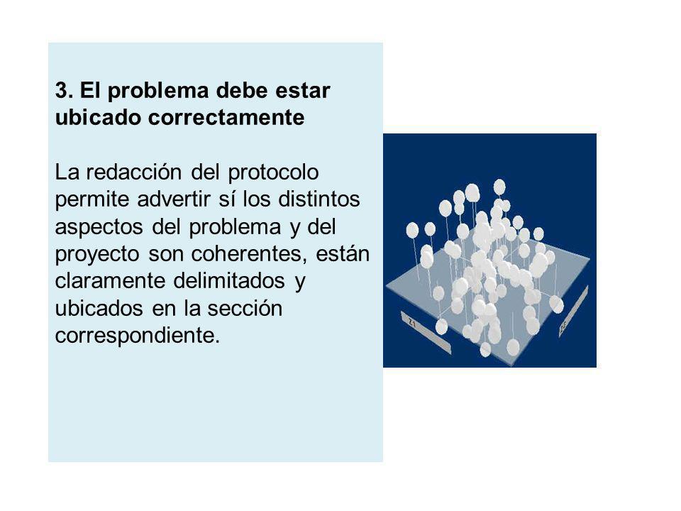 3. El problema debe estar ubicado correctamente La redacción del protocolo permite advertir sí los distintos aspectos del problema y del proyecto son