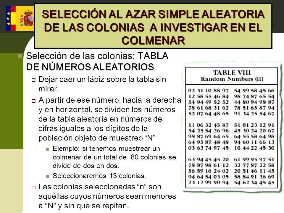 SELECCIÓN AL AZAR SIMPLE ALEATORIA DE LAS COLONIAS A INVESTIGAR EN EL COLMENAR Selección de las colonias: TABLA DE NÚMEROS ALEATORIOS Dejar caer un lá