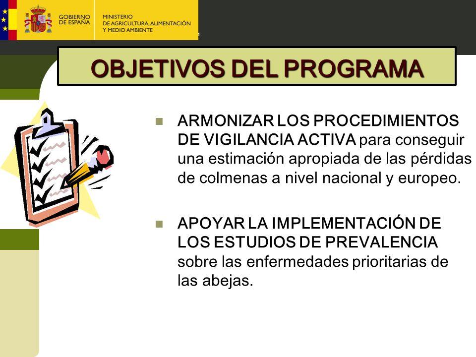 OBJETIVOS DEL PROGRAMA ARMONIZAR LOS PROCEDIMIENTOS DE VIGILANCIA ACTIVA para conseguir una estimación apropiada de las pérdidas de colmenas a nivel n