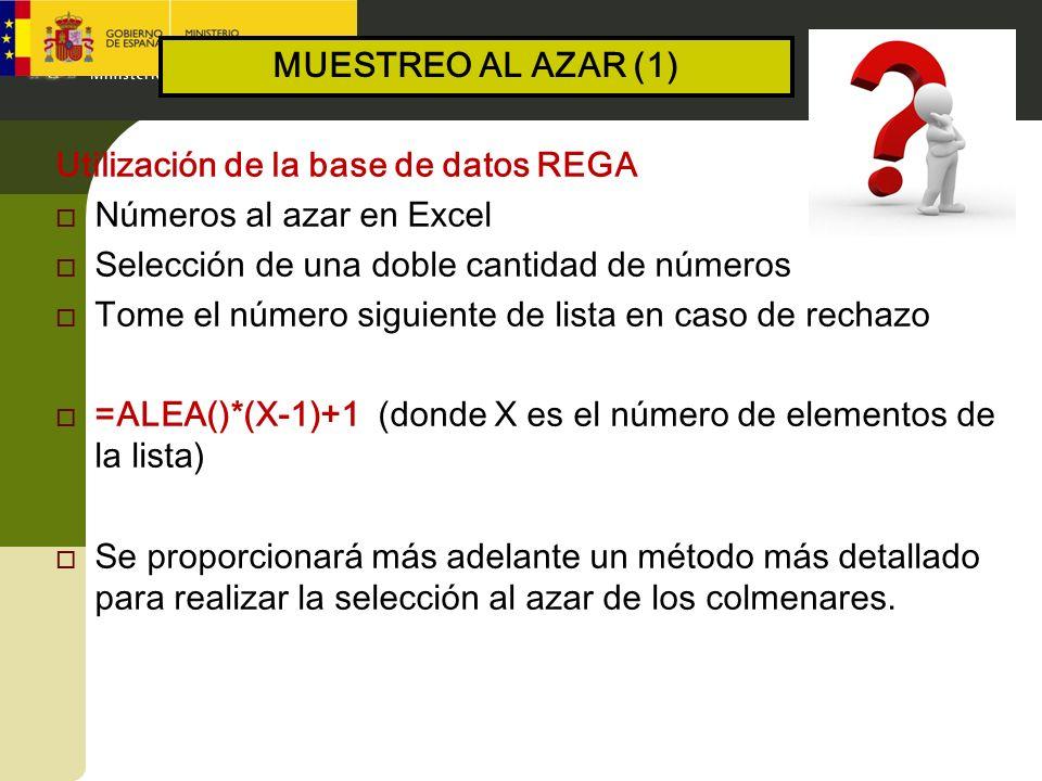 Utilización de la base de datos REGA Números al azar en Excel Selección de una doble cantidad de números Tome el número siguiente de lista en caso de