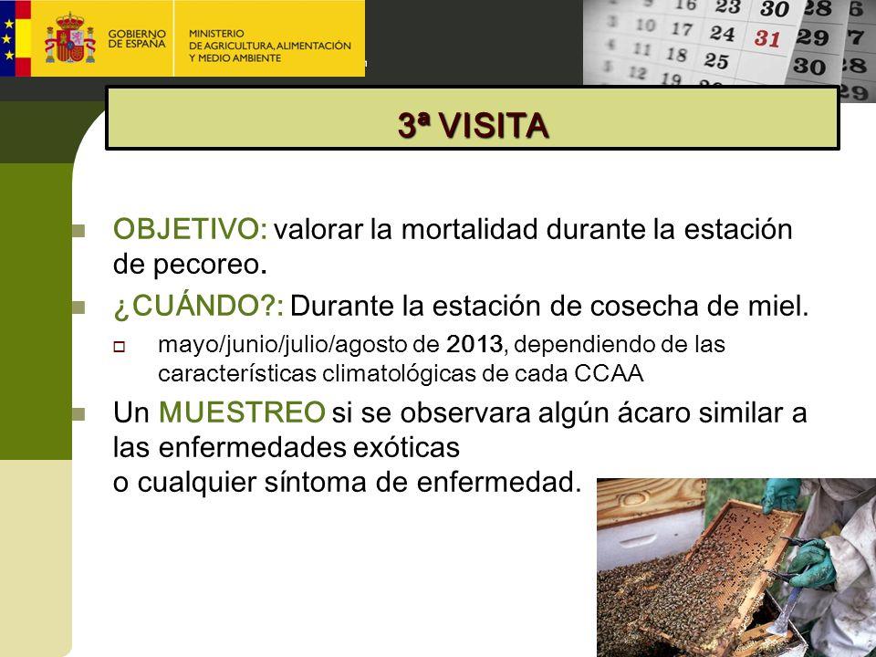 OBJETIVO: valorar la mortalidad durante la estación de pecoreo. ¿CUÁNDO?: Durante la estación de cosecha de miel. mayo/junio/julio/agosto de 2013, dep
