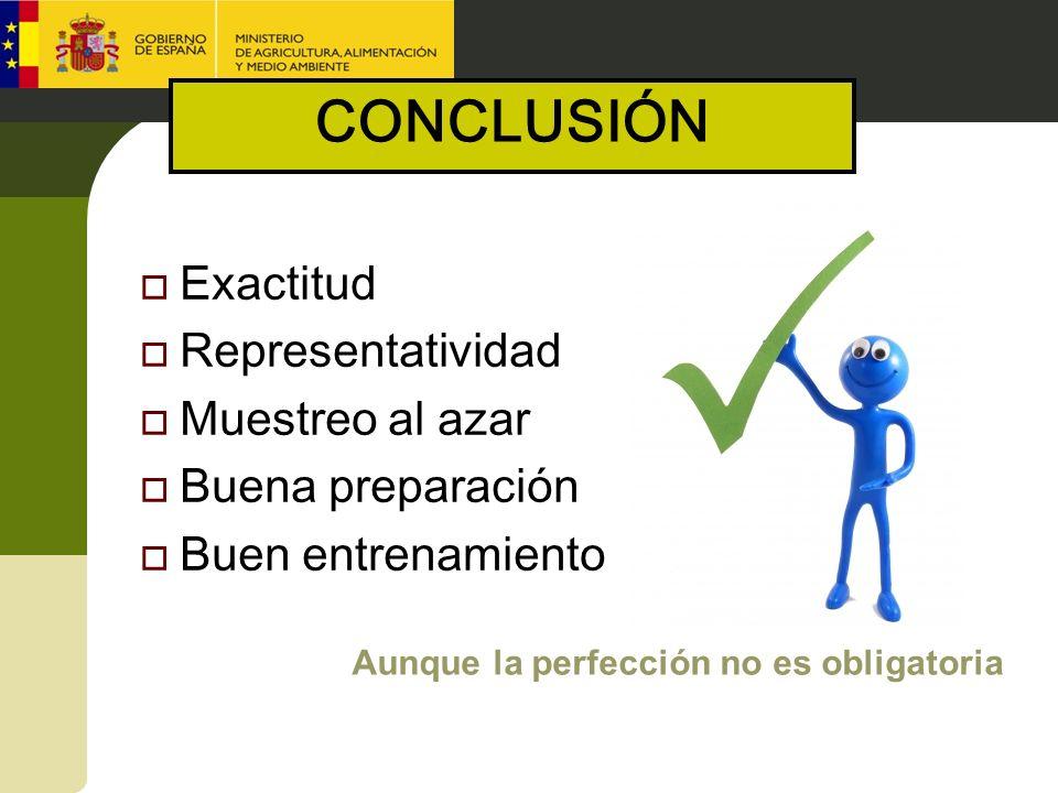 Exactitud Representatividad Muestreo al azar Buena preparación Buen entrenamiento Aunque la perfección no es obligatoria CONCLUSIÓN