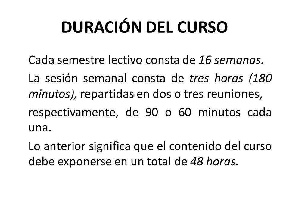 DURACIÓN DEL CURSO Cada semestre lectivo consta de 16 semanas. La sesión semanal consta de tres horas (180 minutos), repartidas en dos o tres reunione