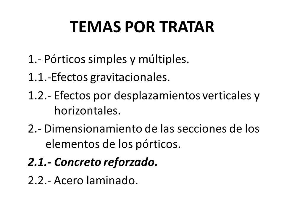 TEMAS POR TRATAR 1.- Pórticos simples y múltiples. 1.1.-Efectos gravitacionales. 1.2.- Efectos por desplazamientos verticales y horizontales. 2.- Dime