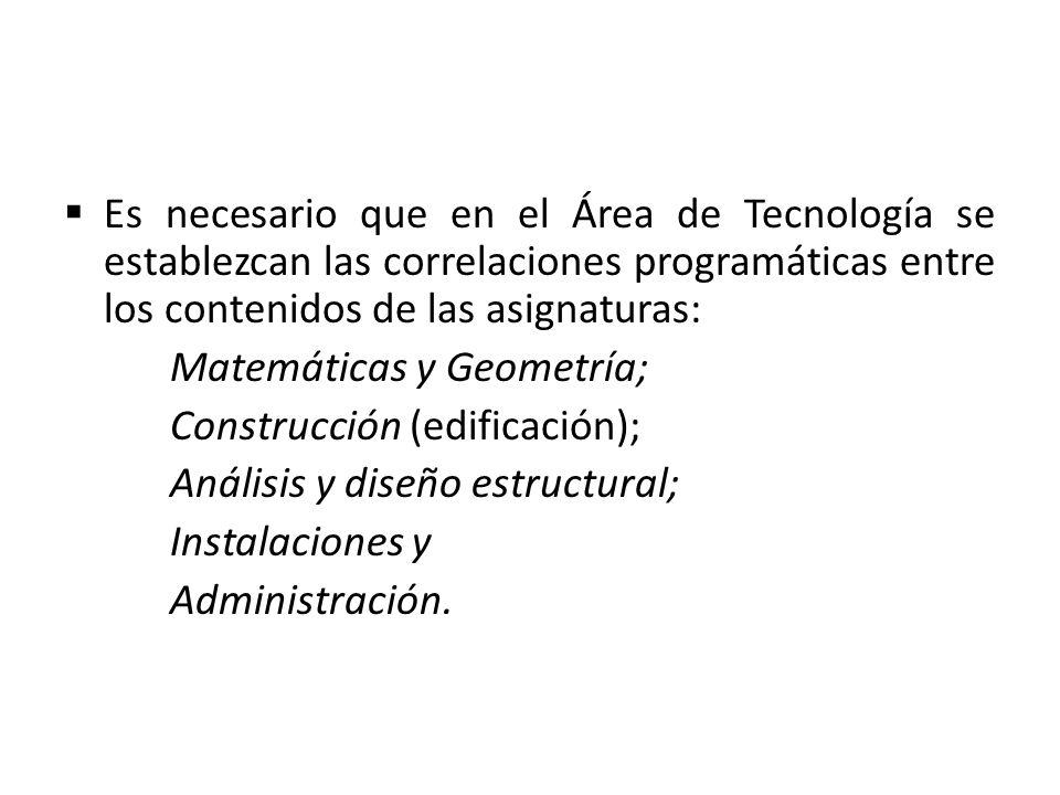 Es necesario que en el Área de Tecnología se establezcan las correlaciones programáticas entre los contenidos de las asignaturas: Matemáticas y Geomet