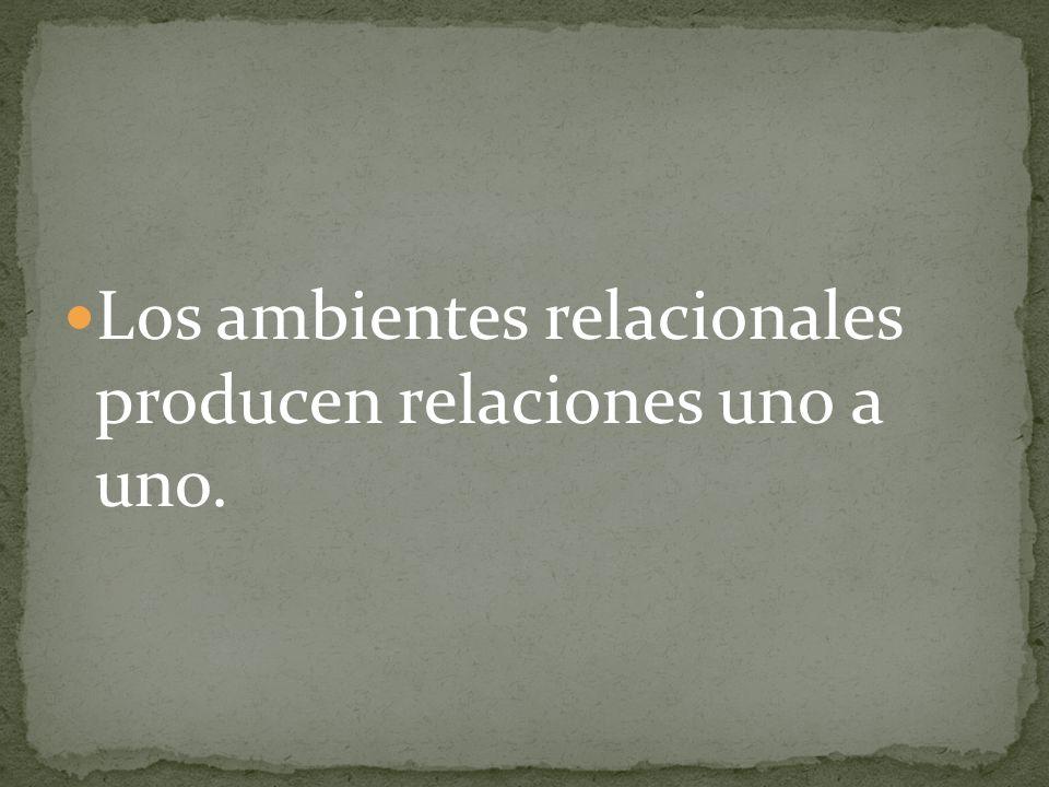 Los ambientes relacionales producen relaciones uno a uno.