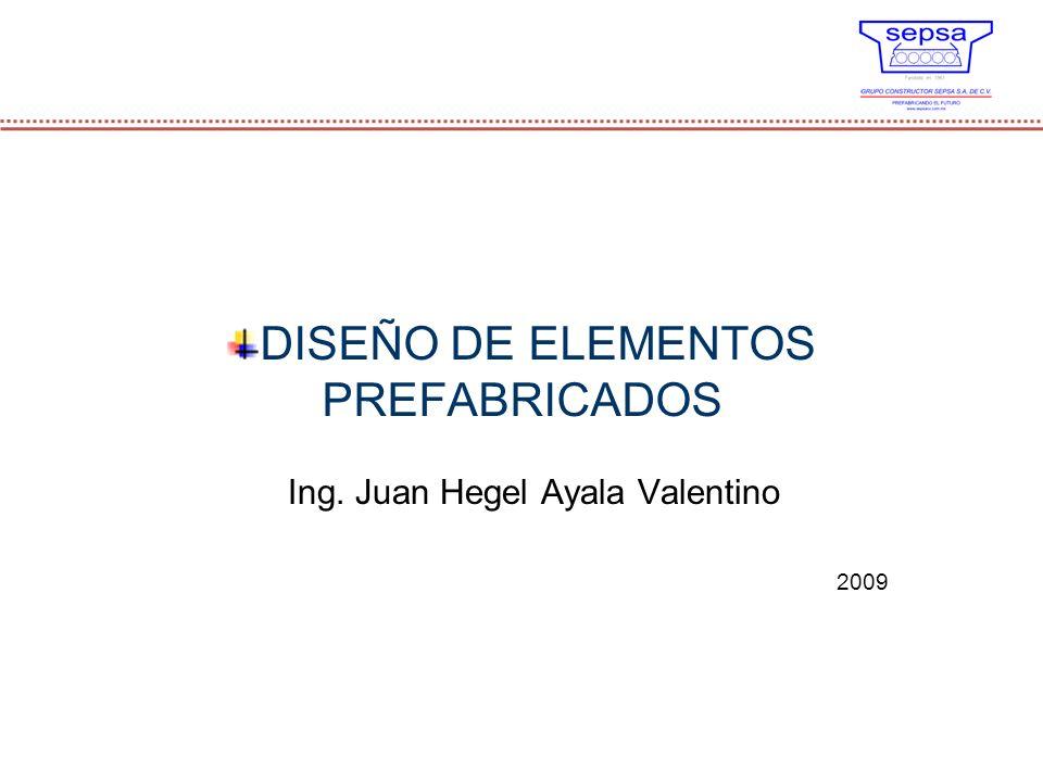 DISEÑO DE ELEMENTOS PREFABRICADOS Ing. Juan Hegel Ayala Valentino 2009