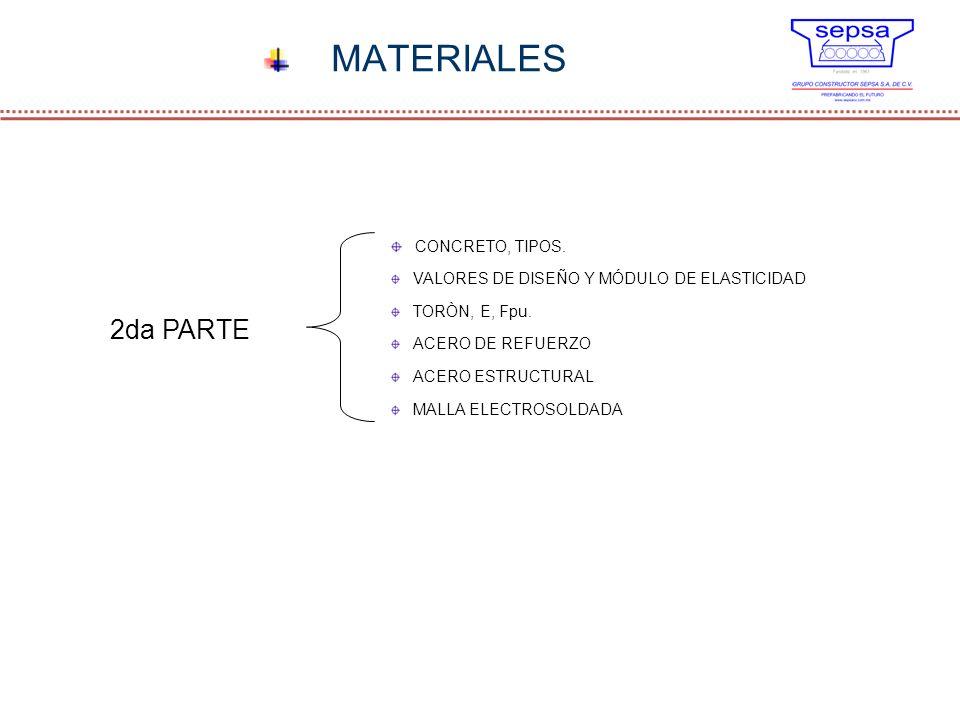 MATERIALES 2da PARTE CONCRETO, TIPOS. VALORES DE DISEÑO Y MÓDULO DE ELASTICIDAD TORÒN, E, Fpu. ACERO DE REFUERZO ACERO ESTRUCTURAL MALLA ELECTROSOLDAD