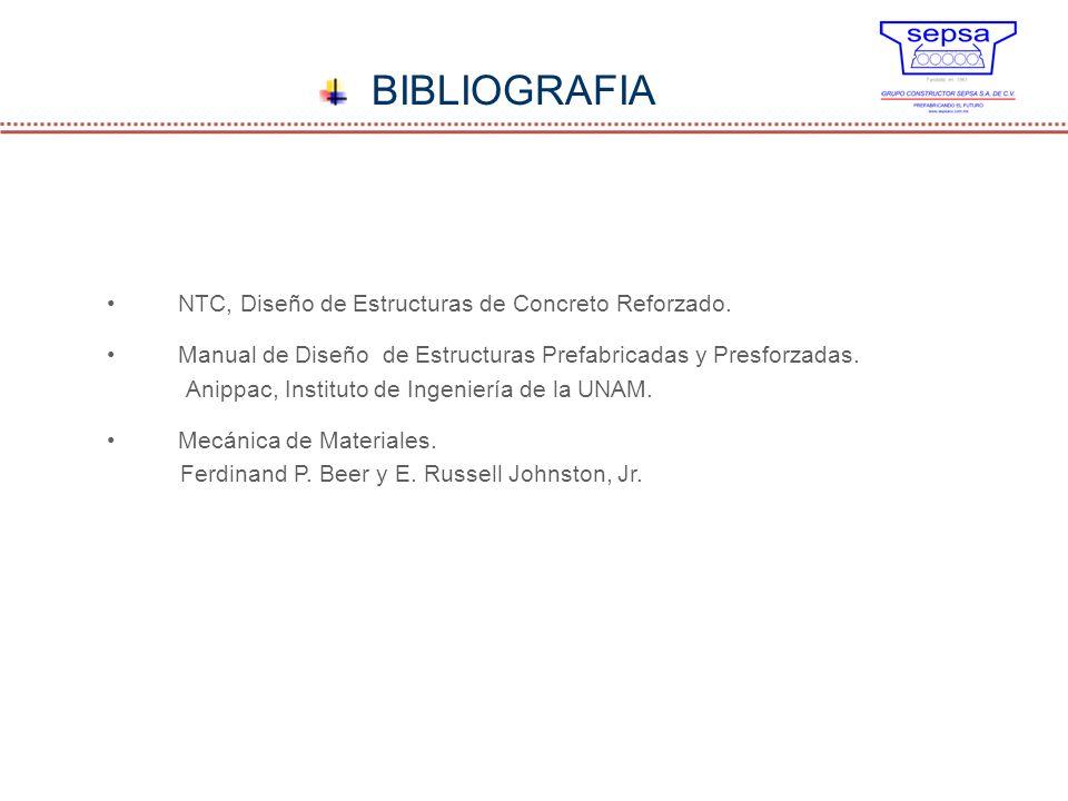BIBLIOGRAFIA NTC, Diseño de Estructuras de Concreto Reforzado. Manual de Diseño de Estructuras Prefabricadas y Presforzadas. Anippac, Instituto de Ing