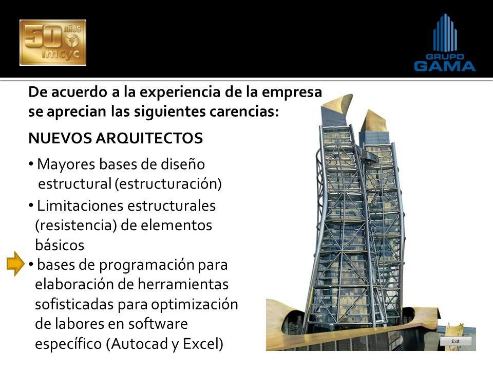 De acuerdo a la experiencia de la empresa se aprecian las siguientes carencias: Mayores bases de diseño estructural (estructuración) Limitaciones estr
